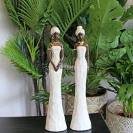 africa figuren dame staand wit polystone 2 assortiment design