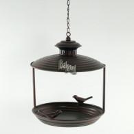 vogel voederhuis hanger rond 20 cm donker bruin