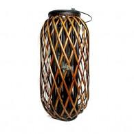 windlicht rotan glas hoog 60 cm donker bruin