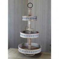 tafel etagère hout met 3 borden hoog 89 cm