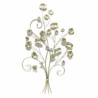 muurdecoratie bloemen op takken  hoog 82 cm goud