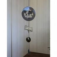 hanger wereldbol metaal 90 cm lang zilver
