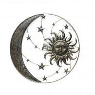 muurdecoratie zon en maan in cirkel rond 75 cm