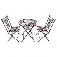 set stoelen en tafel donker bruin