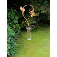 regenmeter vlinder en bladeren metaal hoog 128 cm