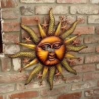 muurdecoratie zon en sterren rond 63.5 cm brons