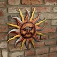 muurdecoratie zon rond 46 cm brons