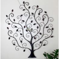 muurdecoratie boom metaal donker bruin 83.5x100 cm
