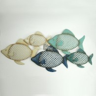 muurdecoratie vissen metaal bont