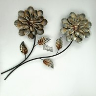 muurdecoratie bloemen op tak  hoog 71 cm donker bruin