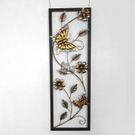 muurdecoratie vlinder en bloem hoog 90 cm bont