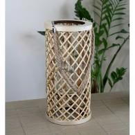 windlicht bamboe cilinder hoog 40 cm bruin