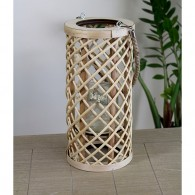 windlicht cilinder bamboe hoog 35 cm bruin