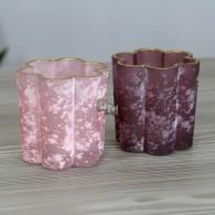 windlicht glas met goudrand hoog 7.5 cm 2 assortiment kleur roze