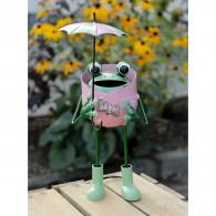 kikker met paraplu metaal roze hoog 29 cm