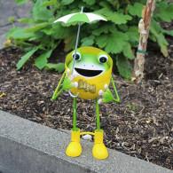 kikker met paraplu staande 29 cm metaal geel