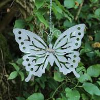 hanger vlinder metaal 48 cm lang wit