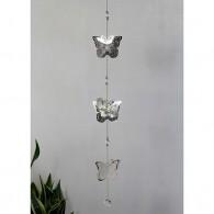 hanger vlinder (3x) metaal 91 cm lang zilver