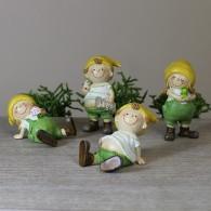 dwerg polystone groen/geel 8.5 cm 4 assortiment design