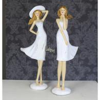 vrouw in jurk polystone zilver/wit hoog 36 cm 2 assortiment design