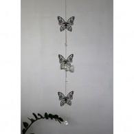 hanger vlinder (3x) metaal 82 cm lang zilver