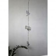 hanger vogel (3x) metaal 106 cm lang grijs