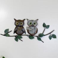 muurdecoratie uilen op tak bont metaal breed 55 cm