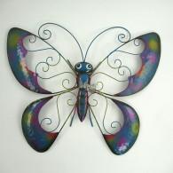 muurdecoratie vlinder breed 55.5cm bont