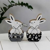 haas in ei hout zwart/wit hoog 16.5 cm 2 assortiment design