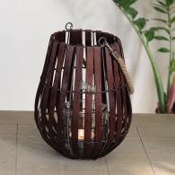 windlicht hout glas hoog 23 cm bruin