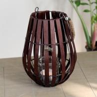 windlicht hout glas hoog 20 cm bruin
