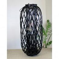 windlicht rotan glas hoog 80 cm zwart