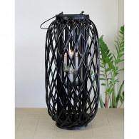 windlicht rotan glas hoog 60 cm zwart