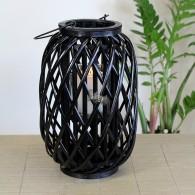 windlicht rotan glas hoog 40 cm zwart