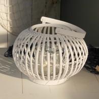 windlicht ronde vorm rotan hoog 22 cm wit
