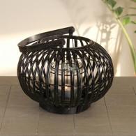 windlicht ronde vorm rotan hoog 22 cm zwart
