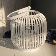 windlicht ronde vorm rotan hoog 29 cm wit