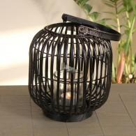 windlicht ronde vorm rotan hoog 29 cm zwart