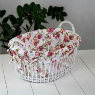 mand met handvat rotan wit roze bloemen decor breed 35 cm