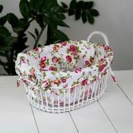 mand met handvat rotan wit roze bloemen decor breed 30 cm