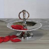 tafel etagère aluminium met glitter zilver