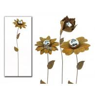 tuinsteker bloem roest met zilveren bal 3 assortiment design