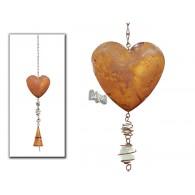 hanger hart (11 cm) met klokje bruin lang 56 cm op=op