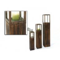 windlicht set van 3 stuks op zuil hout Rustica bruin hoog 60-85 en 120cm