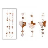 hanger hart/bloem/vlinder (8x8 cm) hout 3 assortiment design lang 120 cm op=op