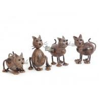 katten in metaal 4 assortiment hoog 11 cm