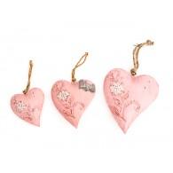 hanger hart met bloemenrank set van 3 stuks