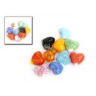 hartjes van glas bont gekleurd 3 cm 10 assortiment design