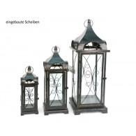 lantaarn set van 3 stuks Ravello metaal hoog 36/58/70cm antiek bruin