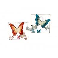 muurdecoratie vlinders bont metaal 50x50 cm 2 assortiment design